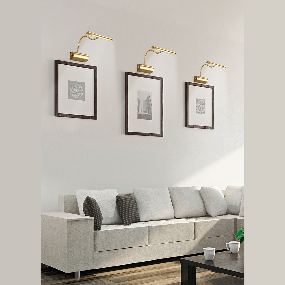 dimmbare led wandlampe in messing mit schwanenhals smart light. Black Bedroom Furniture Sets. Home Design Ideas